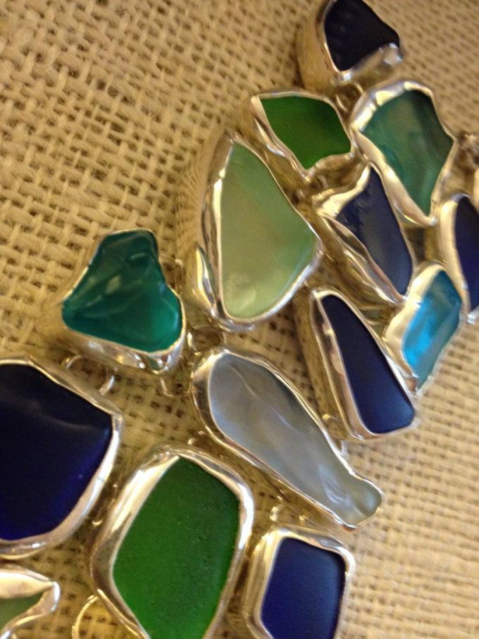 chunky seaglass triple row toggle bracelet