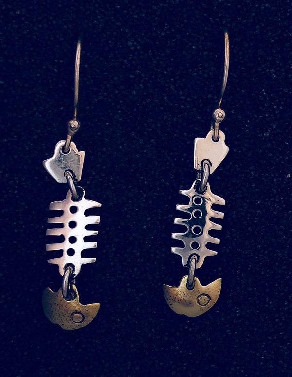 fishbone earring brass heads