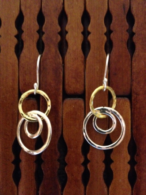 triple hoop sterling silver and gold plate earring