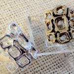 9 Square ring - sterling or sterling & bronze