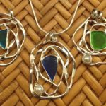 abstract seaglass & pearl pendant set in sterling