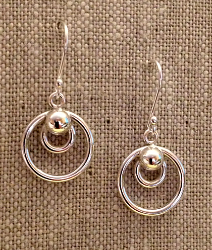 bead and two circle drop sterling earrings