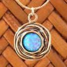 opal in sterling birds nest pendant on sterling chain