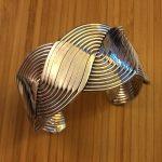 flat woven sterling oval cuff