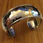 domed hammered sterling cuff
