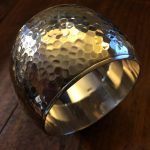 heavy hammered domed sterling cuff