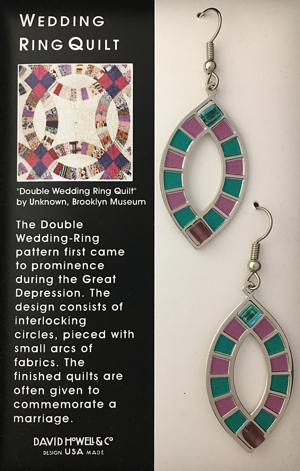 Wedding Ring Quilt earrings by David Howell & Co.