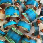 "Mixed Verdigris Patina Cuff small (.75"" wide)"