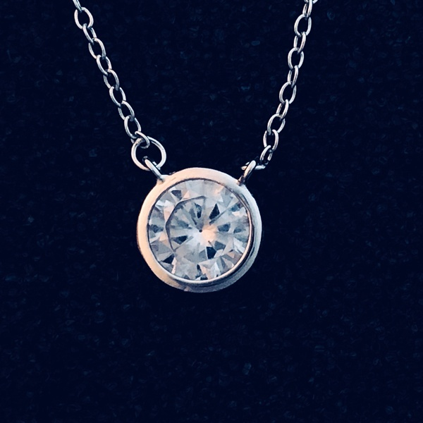 cz set in silver necklace