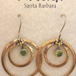 brass hoops w/ peridot by Ritual Jewelry