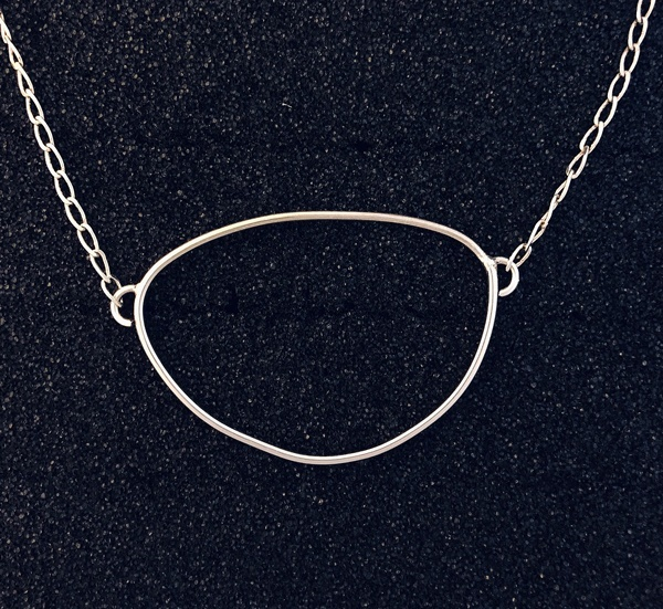 flattened oval sterling necklace