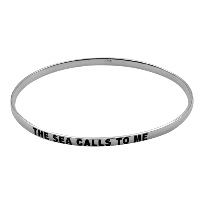 The sea calls to me sterling silver bangle by seabangles