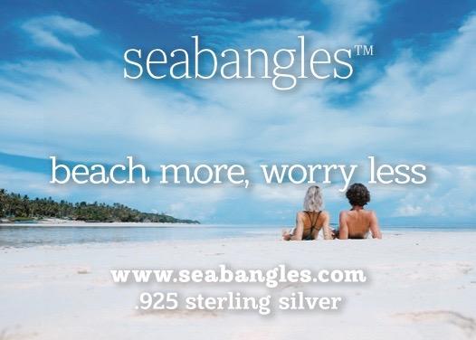 beach more worry less, two women oin beach scene by seabangles