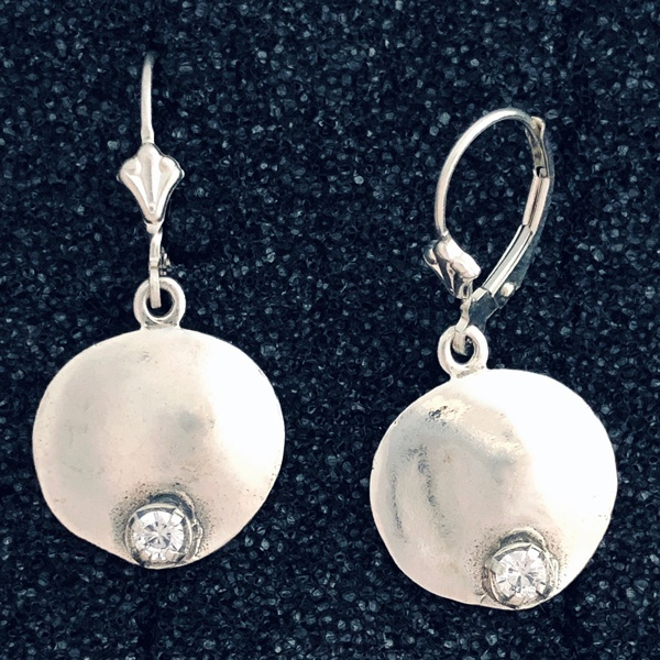 Sterling Disk With CZ Earring