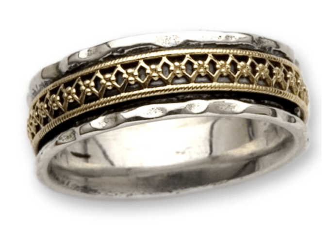 Gold and Silver Band Ring by Ithil Metalworks