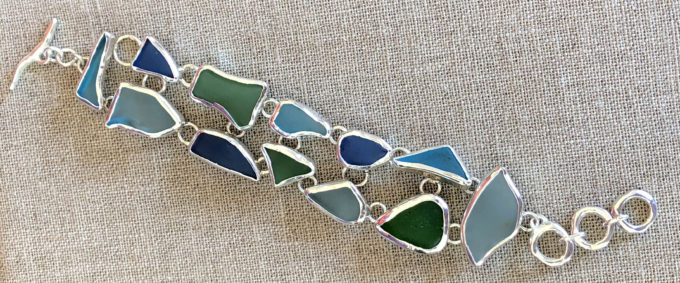 seaglass set in sterling silver toggle bracelet