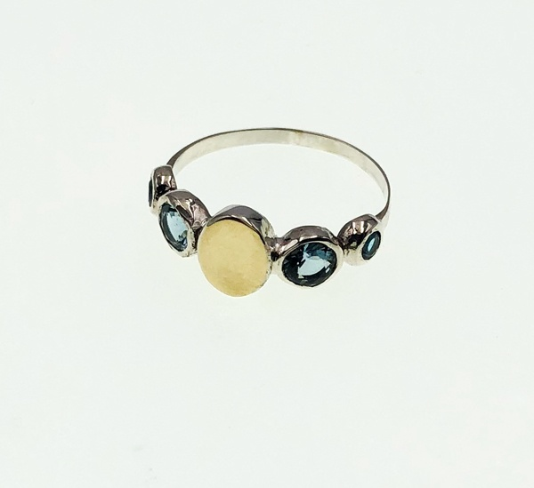 gold and sterling blue topaz ring